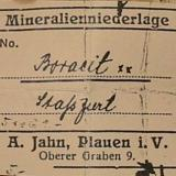 A Stassfurt boracite label of the saxonian mineral dealer Albin Jahn/Plauen. (Author: Andreas Gerstenberg)