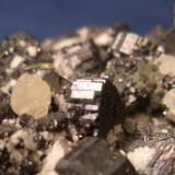 """This Bournonite, from the Quiruvilca District, La Libertad Department, Peru, shows the classic """"cogs wheel"""" Habit. The crystals average about 1/4"""" (6mm) in diameter. (Author: Jim Prentiss)"""