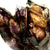 "Amethyst and smokey quartz cluster showing ""windows"": Brandberg (not from gobobosep or tafelkop) size: 53 by 60 by 51mm (Author: Henk Viljoen)"