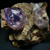 Amethyst crystal on matrix rock, from Kedon, Magadanskaya Oblast', Far-Eastern Region, Russia  Size 75 x 67 x 43 mm (Author: olelukoe)