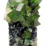 Titanite Tormiq Valley, Haramosh Mts., Skardu, Gilgit-Baltistan, Pakistan 75 mm x 50 mm x 28 mm. Main crystal: 18 mm long, 6 mm thick  Full view (Author: Carles Millan)