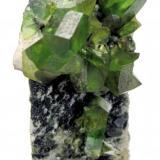 Titanite Tormiq Valley, Haramosh Mts., Skardu, Gilgit-Baltistan, Pakistan 75 mm x 50 mm x 28 mm. Main crystal: 18 mm long, 6 mm thick  Full view (Author: Carles Millan)