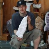 One of my collecting chums with a large calcite boat. (Author: vic rzonca)