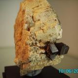 Granate Spessartina (Espesartina) sobre Ortosa Valdemanco Madrid año 2000 granate más grande 1cm. (Autor: Gelo)