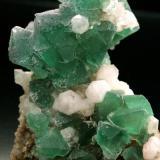 Cristales de fluorita octaédrica verde sobre cuarzo, procedente de la zona de Riemvasmaak, cercana a la población de Pella en la provincia sudafricana de Cabo Norte. Dimensiones 14 x 10 cm. Foto: J. R. García (Autor: JRG)