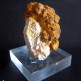Cristal de cuarzo recubierto de calcedonia de 4 cm con una aureola de cristales de goethita pseudomórfica de pirita. Mina Leymon, Vilavella (Ourense). Año 2010 (Autor: usoz)
