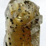 Barita, Calcopirita y Calcita. Obras de los tuneles del AVE en Buiza. Pola de Gordón. León. Tamaño del cristal 32x 14 mm. (Autor: Jose Luis Otero)