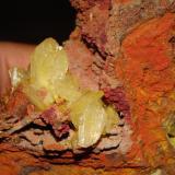 Detalle de los cristales, adamita sobre limonita. (Autor: javmex2)