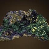 Yellow Mimetite on Azurite and Malachite. (Author: Gail)