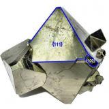 Pyrite Mina Huanzala, Huallanca, Dos de Mayo, Huánuco, Peru 52 mm x 47 mm x 45 mm  Showing Miller indices (Author: Carles Millan)