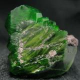 Fine quality, with interesting shape chrome titanite crystal, that was collected at old years, from Saranovskii Mine, Saranovskaya Village, Gorozavodskii area, Permskaya Oblast, Middle Urals, Urals Region, Russia  Size 31 x 24 x 10 mm (Author: olelukoe)