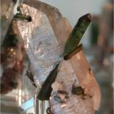"Gemmy green tourmaline ""spear"" in quartz.  This piece is 12.6 x 5.1 x 5.1 cm, weighs 125 grams and is from Pederneira mine, Brazil (Author: VRigatti)"