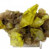Sulfur, aragonite Cozzodisi Mine, Casteltermini, Girgenti Province, Sicily, Italy 100 mm x 60 mm x 60 mm. Main sulfur crystal: 44 mm long, 19 mm wide (Author: Carles Millan)
