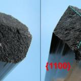 Schorl. Showing the upper tip with the Miller indices {1100} and probably {2210}. (Author: Carles Millan)