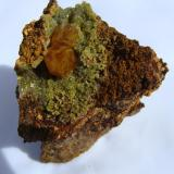 Wulfenite with mimetite, Mina Ojuela Durango Mexico. size 7cm x 8cm. (Author: javmex2)