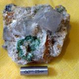 Fluorite Komshejeh Mine (Komshecheh Mine), Komshejeh (Komshecheh), Ardestan County, Esfahan Province (Isfahan Province; Aspadana Province), Iran Size of Fluorite crystal: 15*15 mm A small collection in one specimen. Fluorite , lazurite, Malachite , Azurite , Galena , Baryte , Quartz , Calcite ,Limonite , Hematite ,… (Author: h.abbasi)