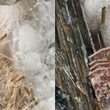 Astrophyllite from Poudrette quarry (Demix quarry; Uni-Mix quarry; Desourdy quarry), Mont Saint-Hilaire, Rouville RCM, Montérégie, Québec, Canada FOV=3mm (Author: Doug)