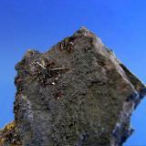 Jarosita<br />Socavón Santa Bárbara (Túnel El Arteal), Sierra Almagrera, Cuevas del Almanzora, Comarca Levante Almeriense, Almería, Andalucía, España<br />Pieza; 9,5x4,2cm. Grupo mayor; 1,2cm. Cristal; 0,7cm.<br /> (Autor: DAni)