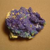 """Linarite, also from the """"Blue Room"""", Blanchard Mine.  4.5 X 3.5 cm.  There was a small crawl space off to one side of the Blue Room from which one could extract craystalline masses of linarte such as this.  Linarite is found throughout the mine, often (but not always) associated with galena. (Author: Ed Huskinson)"""