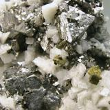 Siegenite with Chalcopyrite and Dolomite Milliken (Sweetwater) Mine, S. Orebody, Ellington, Reynolds County, Missouri Mined in June 1997 Main crystal size: 0.9 × 0.8 cm. Former Silvane Collection Photo: Reference Specimens (Author: Jordi Fabre)