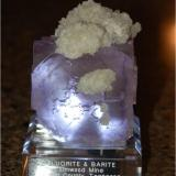 Fluorite with Barite from Elmwood mine, Tennessee. Measures 8 x 10 x 6 cm and weighs 150 grams (Author: VRigatti)