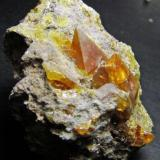 Sulfur. San Hipólito Mine. Jerez de la Frontera. Cádiz. Andalusia. Spain. Crystal 1 cm. (Author: nimfiara)