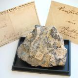 Yellowish variscite from the Messbach quarry, Plauen, Voigtland, Saxony. 5,5 cm sample from the type locality with old labels. (Author: Andreas Gerstenberg)