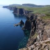 Isle of Skye coastline at it's most beautiful - the 'Wilderness' area (Duirinish), about 6 miles (10km) south of Moonen Bay. The locality of Biod a Mhurain is approximately in the centre of the photograph. June 2008. (Author: Mike Wood)