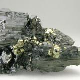 Enargite with Pyrite and Quartz Butte, Silver Bow County, Montana, USA Specimen size: 6 × 3.5 × 4.5 cm. Main crystal size: 2.4 × 2.4 cm. Mined about 1948 Former collection of Folch duplicates Photo: Reference Specimens (Author: Jordi Fabre)