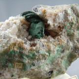 Malachite on Quartz Cheshire, Connecticut 8.3cm x 5.5cm (Author: rweaver)