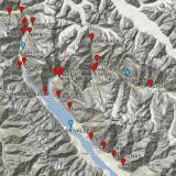 _Alchuri: Por si alguien quiere acercarse, Alchuri está en el valle de Shigar, en la parte inferior del mapa. Las marcas de color rojo son localidades con minerales interesantes. Las azules indican citas menos precisas. (Autor: Carles Millan)