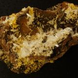 Hemimorphite, Mimetite combo from Mapimi, Durango, Mexico - about 20 cm across. Purchased at 2011 Deming show - have wanted one for a long time! (Author: Darren)