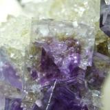 Fluorita + Barita + Cuarzo La Cabaña - Berbes - Asturias Pieza de 13x10 cm. cristal mayor 1 cm. Detalle de la pieza anterior (Autor: El Coleccionista)