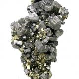 "Bournonite, pyrite Mina Mercedes, Huallanca, Dos de Mayo, Huánuco, Peru 78 mm × 44 mm × 20 mm  Also published at ""Fabre Minerals Reference Specimens - The Silvane Collection"" http://www.fabreminerals.com/specimens/RSSLV-silvane-notable-specimens.php#AL66M6 (Author: Carles Millan)"