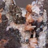 Aragonite and Quartz on Hematite Florence Mine, Egremont, Cumbria Aragonites to 12 mm (Author: nurbo)