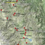 _¿Y dónde está el Cerro Huarihuyn? (las marcas de color rojo indican la posición de yacimientos minerales interesantes) (Autor: Carles Millan)