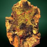 Crocoita+Piromorfita Dundas, Zeehan, Tasmania, Australia. Platt (m). 6,3x4,2x1,5 cm. / 0,3x0,1x0,1 cm. (cristal pral.) Cristales prismáticos agudos sobre piromorfita cristalizada, en matriz. Ejemplar de 1980 procedente de la colección de pequeños ejemplares de Albert Botella Ripoll, de Sabadell. Adquirido a Pep Gorgas cuando tenía la tienda Quars, en la calle Santaló de Barcelona. (Autor: Carles Curto)