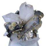 Arsenopyrite, ferberite, scheelite, quartz, muscovite. Yaogangxian Mine, Yizhang, Chenzhou, Hunan, China 85 mm x 85 mm (Author: Carles Millan)