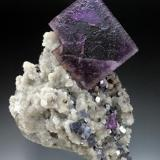 Fluorite with galena and quartz Hill-Ledford Mine, Cave-in-Rock, Hardin County, Illinois fluorite 4.5 cm on edge (Author: Jesse Fisher)