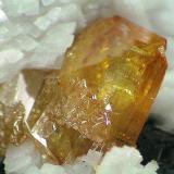 Wulfenita sobre dolomita Tsumeb Mine,Tsumeb, Namibia, Africa 6,5 cm X 3,9 cm, cristal mayor 2,2 X 2,2 (Autor: Francisco Javier Ortiz)