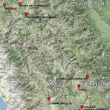 _Barita, oropimente, rejalgar  Posición geográfica de la mina Quiruvilca (las marcas de color rojo señalan localidades con minerales interesantes) (Autor: Carles Millan)