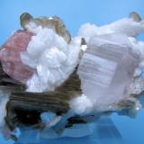Fluorapatite, albite, quartz, mica Shigar Valley, Skardu District, Baltistan, Gilgit-Baltistan, Pakistan 65 mm x 47 mm (Author: Carles Millan)
