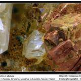 Adularia and pyrite L'Homme de Beurre, La Lauzière massif, Savoie, Rhône-Alpes, France fov 2 mm (Author: ploum)