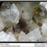 Anatase and adularia Col de la Madeleine, Savoie, France fov 3.5 mm (Author: ploum)
