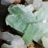 Apofilita y estilbita.  Shendurni Distr. Jalgaon. Maharastra. India.  7x6 cm. Cristal 2.8 cm. (Autor: Juan Luis Castanedo)