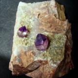 Amethyst Priozersk, Karagandy Province, Kazakhstan 70 x 60 x 40 mm, crystals 9 & 14 mm (Author: Tobi)