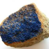 Azurite Güte Gottes mine, Mechernich, Eifel, Germany 6,5 cm Small azurite aggregates on sandstone. (Author: Andreas Gerstenberg)