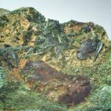 Epidota & Calcopirita Casterner de les Olles - Serra de Sant Gervàs - Tremp - Lleida - Catalunya - España 95 x 48 x 15 mm Detalle (Autor: Joan Martinez Bruguera)