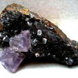 Fluorite on sphalerite Elmwood mine, Carthage, Tennessee, USA Specimen size 100 mm. (Author: Tobi)