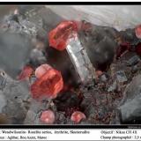 Wendwilsonite, erythrite, skutterudite Aghbar Mine, Bou Azzer, Morocco fov 2.5 mm (Author: ploum)